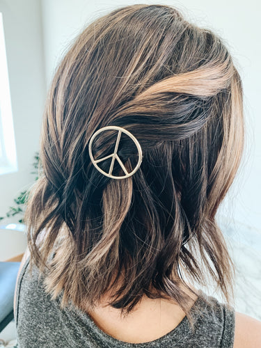 Gold Peace Hair Clip