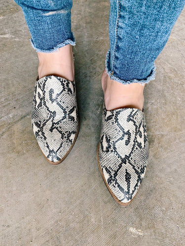 Catherin Snake Print Mule