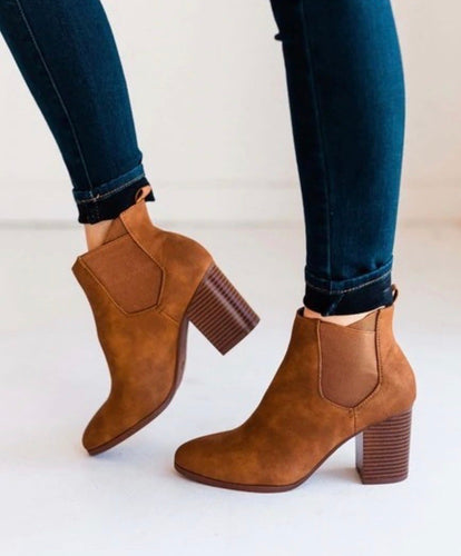 Cognac Distressed Booties