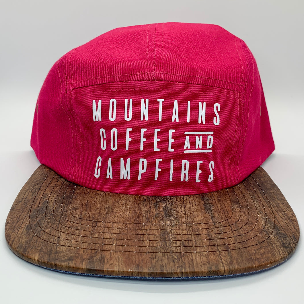 Mountains Coffee And Campfires 5 Panel Hat