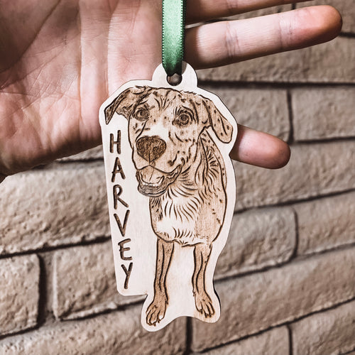 Custom Engraved Wooden Ornament-Single Subject