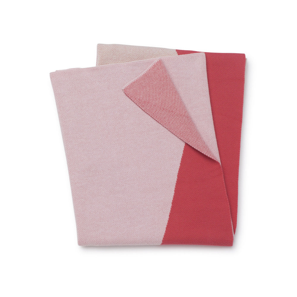 Triangles Junior Throw / Cot Blanket - Coral/Pink