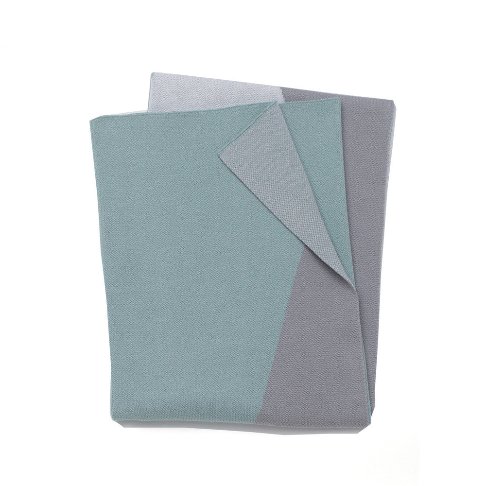 Triangles Junior Throw / Cot Blanket - Mint/Grey