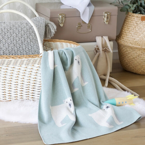 Polar Bear Baby Blanket - Mint