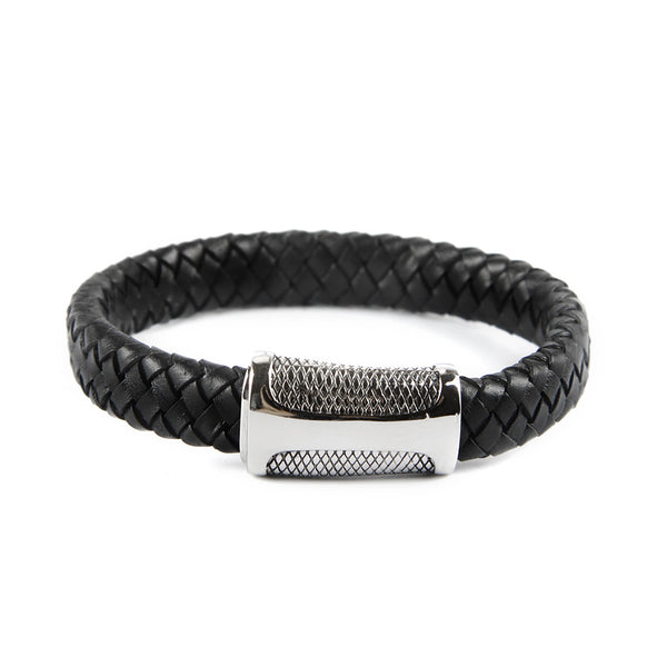 Braided Natural Leather  Bracelet with Magnetic Clasp