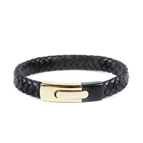 Braided Natural Leather Bracelet With Golden Clasp