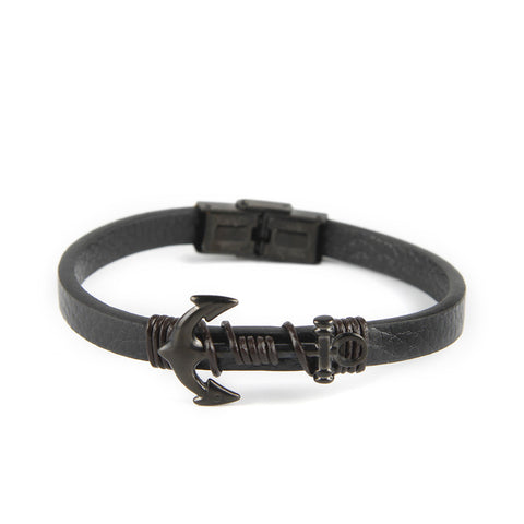 Natural Leather Anchor  Bracelet