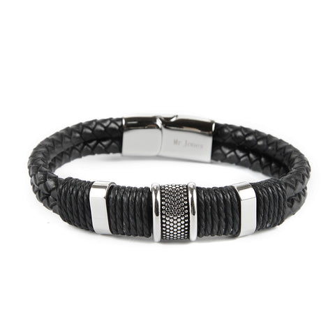 Braided Leather  Bracelet with Stainless Steel Inserts