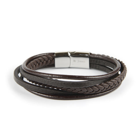 Brown Leather Cord Pack Bracelet