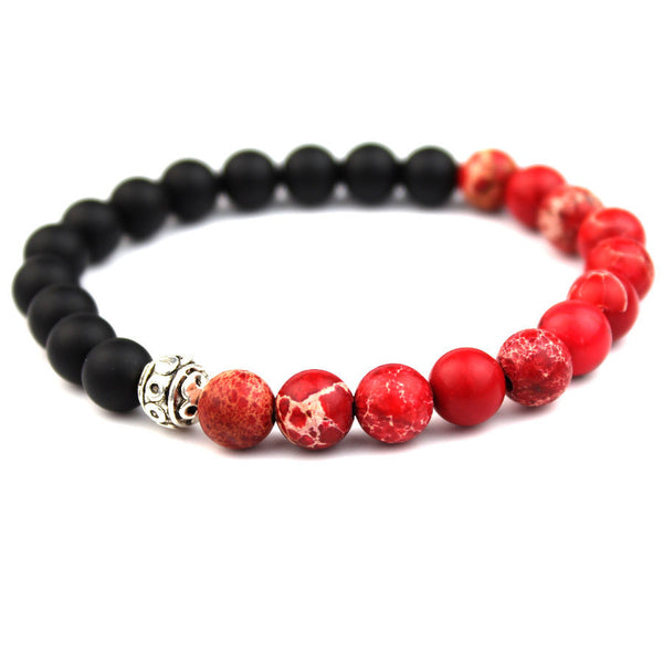 Matte Black Natural Stone Red Jasper Beads Bracelet