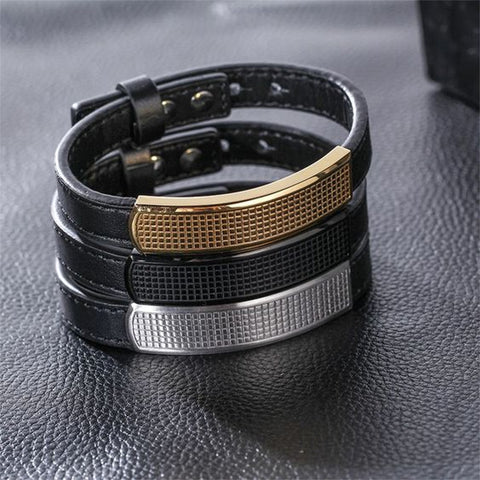 Genuine Leather Cuff Bracelet with Metal Insert
