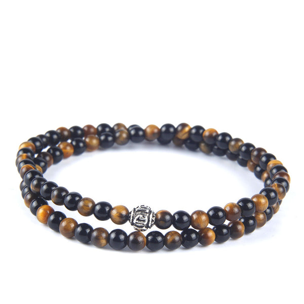 Silver Charm Natural Tiger Eye and Agate  Beads Bracelet