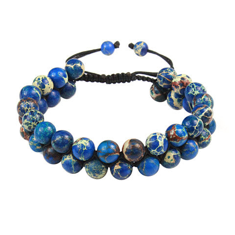 MR JONES Blue Variscite Shamballa double Bracelet