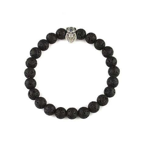 Black Lava Stone Beads Lion  Bracelet