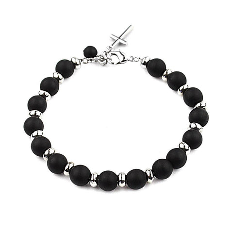 Black Natural Stone Beads Bracelet with Silver Cross Pendant