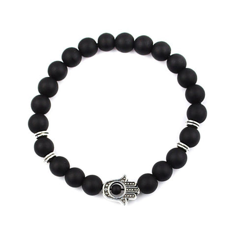 Black Natural Stone Beads Hamsa Hand Bracelet