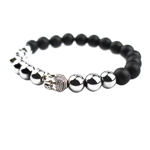 Black Agate Natural Beads Silver Buddha bracelet