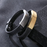 Genuine Leather Cuff Bracelet with Gold Insert