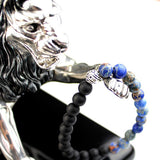 Matte Black Natural Stone Blue Jasper Beads Bracelet