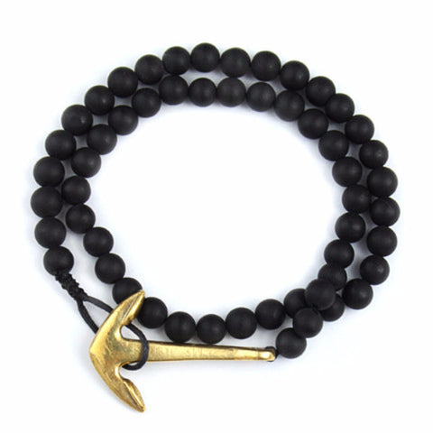 Black Natural Stone Golden Anchor Bracelet