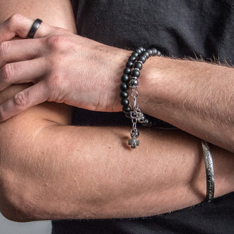 Fashion Men Matte Black Natural Stone Beads Bracelet