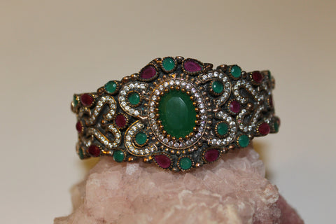 Sterling Silver Elegant Large Cuff Bracelet With Ruby And  Emerald