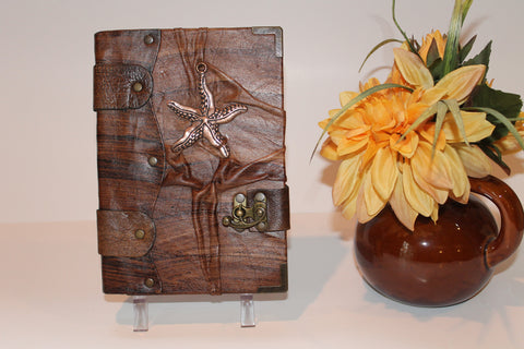 Handmade Brown Leather Journal /Diary/ Illustration Book With Sea Star Pendant