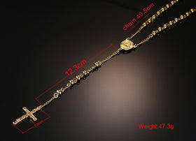 18K Gold Plated Titanium chain / Rosary with Jesus Cross Pendant