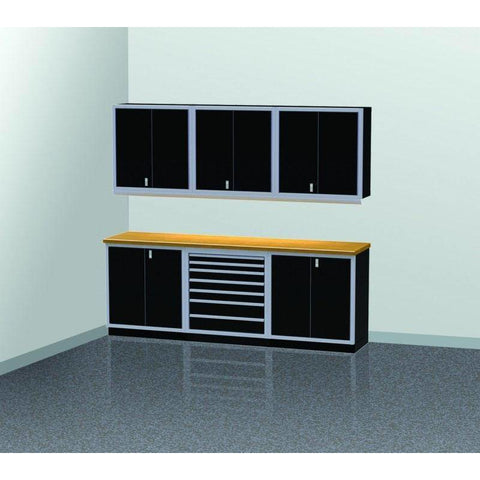 Image of Moduline Garage PRO II Cabinet Combo 7 Piece 9 Foot Wide #PGC009-02X - Garage Tools Storage