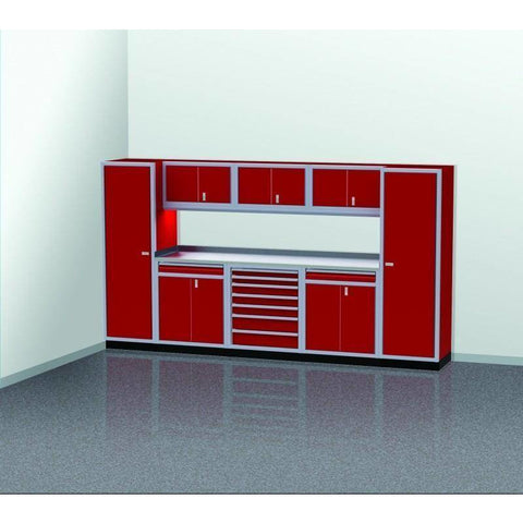 Image of Moduline Garage PRO II Cabinet Combo 9 Piece 12 Foot Wide #PGC012-02X - Garage Tools Storage