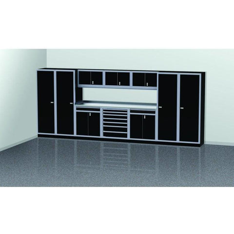 Image of Moduline Garage PRO II Cabinet Combo 11 Piece 16 Foot Wide #PGC016-03X - Garage Tools Storage