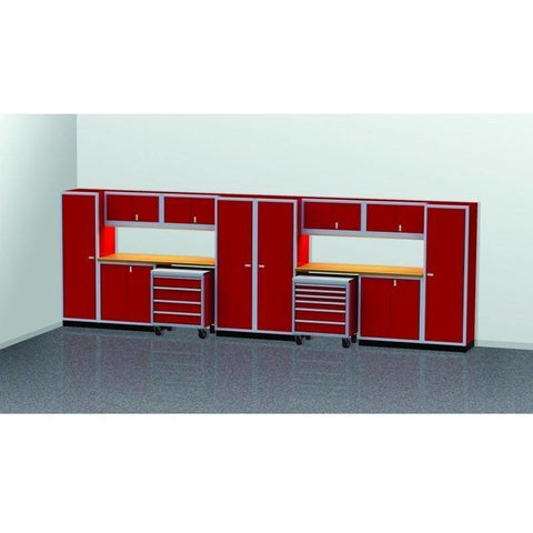 Image of Moduline Garage PRO II Cabinet Combo 16 Piece 20 Foot Wide #PGC020-04X - Garage Tools Storage