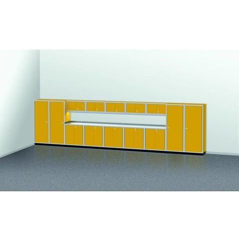 Image of Moduline Garage PRO II Cabinet Combo 15 Piece 25 Foot Wide #PGC025-02X - Garage Tools Storage