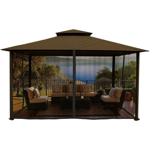Paragon Kingsbury Gazebo with Cocoa Color Sunbrella Top and Mosquito Netting