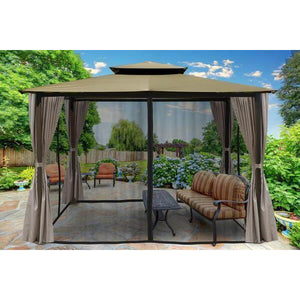 Barcelona Gazebo Sand Color Top Curtains & Mosquito Netting GZ584ESK2