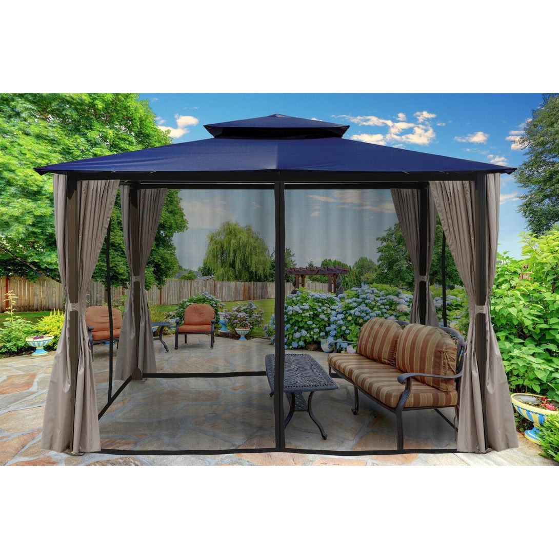 Paragon Barcelona Gazebo Navy Top Curtains Mosquito Netting GZ584ENK2