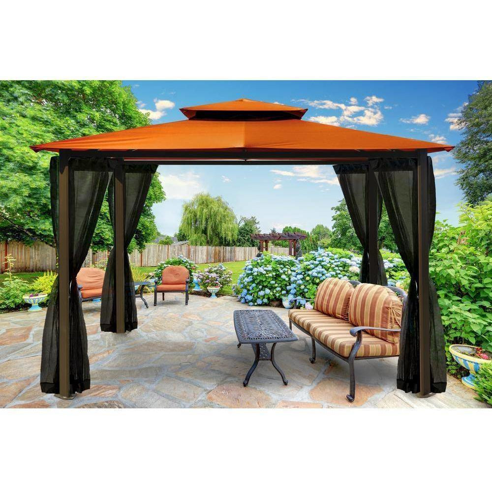 Paragon Barcelona Gazebo with Rust Roof and  Mosquito Netting GZ584ERK