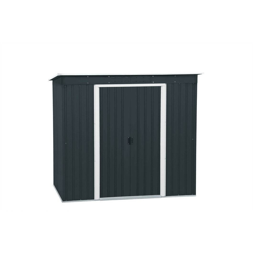 Duramax 8' x 4' Pent Roof Shed Dark Grey with Off White Trim 50651