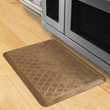 Wellnessmats Trellis Estates- Shades of Gold ET32WMRBGBRN, Burnished Copper A floor mat that has smooth surface. An ergo mat that gives comfort and relaxation while working in the kitchen or in any part of the house.