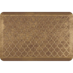 Wellnessmats Trellis Estates- Shades of Gold ET32WMRBGBRN, Burnished Copper A popular floor mat with elegant design. A kitchen mat that gives padded support.