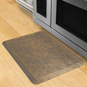 Wellnessmats Trellis Estates- Shades of Gold ET32WMRBGGRY,Antique Gold A kitchen rug that relieves pressure and discomfort. A non-toxic ergo mat.
