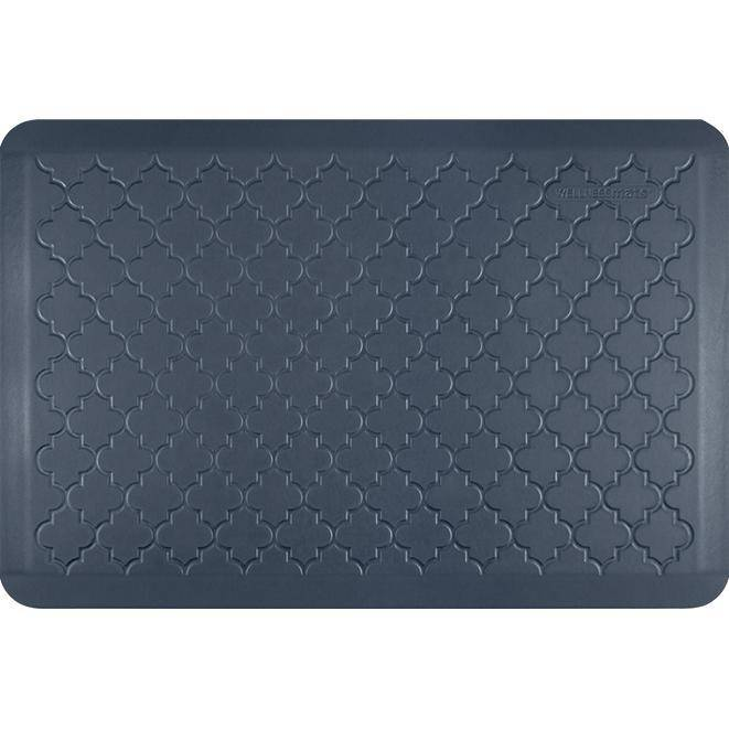 Wellnessmats Trellis Estates Shades of Blue ET32WMRBGRY,Lagoon An anti fatigue mat that reduces stress. Easy to clean floormat