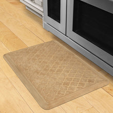 Wellnessmats Trellis Estates- Shades of Gold ET32WMRBGTAN,Aztec Gold A stain and heat resistant kitchen mat. A floor mat made of 100% Polyurethane