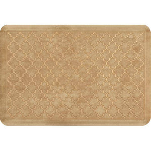 Wellnessmats Trellis Estates- Shades of Gold ET32WMRBGTAN,Aztec Gold Kitchen floor mats that resist punctures, heat, dirt and stains. A floor mat that provides cushion and nonslip surface.