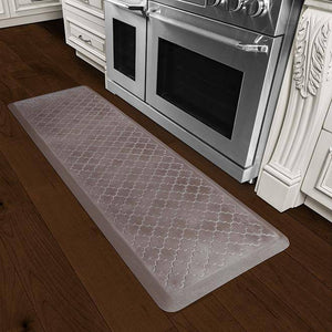 Wellnessmats Trellis Estates Shades of Silver ET62WMRBNBRN,Quartz A floor mat that has smooth surface. An ergo mat that gives comfort and relaxation while working in the kitchen or in any part of the house.