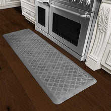 Wellnessmats Trellis Estates Shades of Silver ET62WMRBNGRY,Slate A recyclable kitchen rug. Anti-microbial floor mat that gives comfort to your feet.