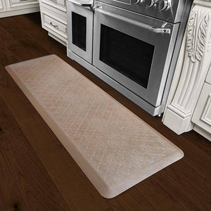 Wellnessmats Trellis Estates Shades of Silver ET62WMRBNTAN,Sandstone Kitchen floor mats that resist punctures, heat, dirt and stains. A floor mat that provides cushion and nonslip surface.