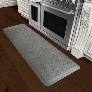 Wellnessmats Trellis Estates Shades of Silver ET62WMRSL,SilverLeaf A floor mat with a great design that perfectly suits your kitchen. It is also an easy-to-clean ergo mat for every room in your house or garage.