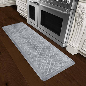 Wellnessmats Trellis Estates Shades of White ET62WMRWBLK,Sea Mist