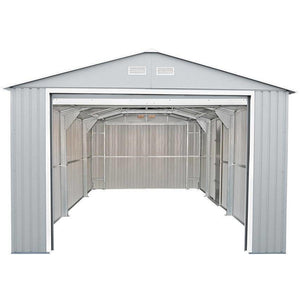 Duramax 12'x20' Imperial Metal Garage  Light Gray w/Off White 50952 - Garage Tools Storage